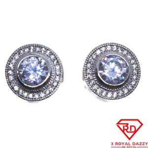 Round Halo with white CZ stud Earrings White gold